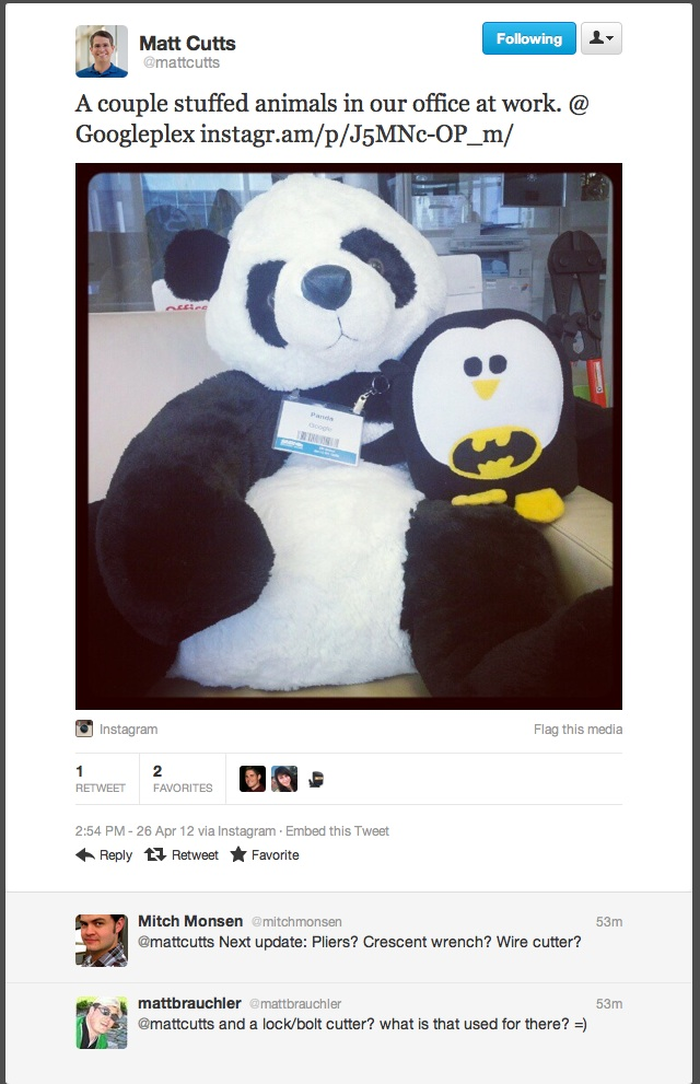 google penguin, penghuni kantor baru google
